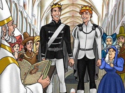 And the princes married and lived happily-ever-after. :) Image was taken from Jeffrey Miles' gay children's fairy tale book, 'The Princes and the Treasure'. In a perfect world, this could've been Henning and Varian. But alas, alack...)