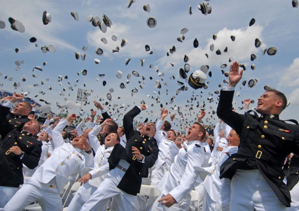 110527-N-OA833-014 ANNAPOLIS, Md. (May 27, 2011) Newly commissioned Navy and Marine Corps officers toss their hats during the U.S. Naval Academy Class of 2011 graduation and commissioning ceremony. The Class of 2011 graduated 728 ensigns and 260 Marine Corps 2nd lieutenants at Navy-Marine Corps Memorial Stadium in Annapolis, Md. (U.S. Navy photo by Mass Communication Specialist 1st Class Chad Runge/Released)